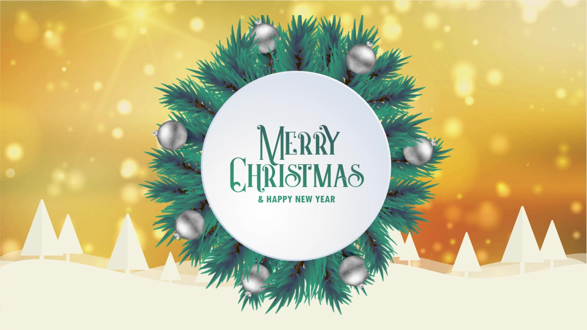 Merry Christmas greeting card animation golden bokeh background ...