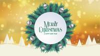 Glad jul hälsningskort animering guld bokeh bakgrund träd snö