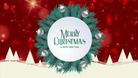 God jul hälsningskort animering röd bokeh bakgrund träd snö