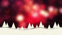 Sneeuw en Kerstbomen HD 1080 rode bokehachtergrond