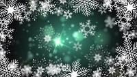 beautiful snowflakes rotating on a green background lens flare bokeh
