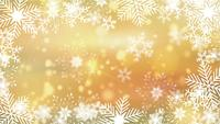 beautiful snowflakes rotating on a golden background lens flare bokeh