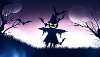 Halloween-Hintergrundanimation mit dem concep des purpurroten Hintergrundes der gespenstischen Vogelscheuche und der Schläger