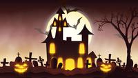 animation of a spooky haunted house with Jack-o-lantern Halloween pumpkins