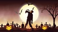 Animação de fundo de Halloween com o conceito de abóboras assustadoras, lua e morcegos e zumbis