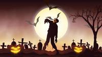 Animation de fond Halloween avec le concept de citrouilles fantasmagoriques, Lune et chauves-souris et Zombie
