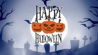 geanimeerde vrolijke halloween-wenskaart met pompoenen, maan en vleermuizen