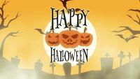 animerat glad halloween hälsningskort med pumpor, måne och fladdermus
