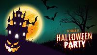 Animação de convite de festa de Halloween de uma casa assombrada assustador com abóboras de Halloween Jack-o-lanterna