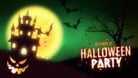 Animación de la invitación de la fiesta de Halloween de una casa encantada fantasmagórica con las calabazas de Halloween de la Jack-o-linterna