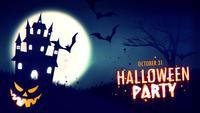 Halloween-feestuitnodiging van een spookachtig spookhuis met hefboom-o-lantaarn Halloween-pompoenen