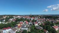 Vue aérienne, Bergen, auf, ruegen, allemagne, ville, Mecklenburg