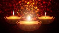 Happy Diwali Indian Temple on a Religious Festival Diwali. Oil Lamp animation with warm bokeh background