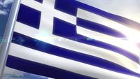 Bandera ondeante de animación griega