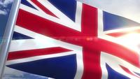 Waving flag of UK Great Britain Animation
