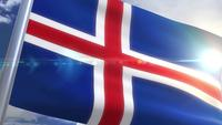 Waving flag of Iceland Animation