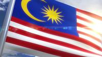 Waving flag of Malaysia Animation