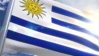 Waving flag of Uruguay Animation