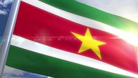 Waving flag of Suriname Animation