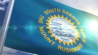 Waving flag of the state of South Dakota USA