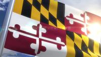 Wehende Flagge des Staates Maryland USA