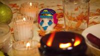 Sugar Skull And Candles And Brazier In Traditional Offering