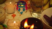 Sugar Skull And Candles With Brazier In Foreground