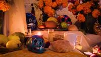 Mexican Offering With Colorful Skulls