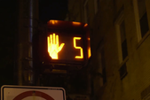 Night Shot Of Countdown Of Pedestrian Traffic Light