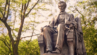 Gros plan, assis, statue, Lincoln, Grant, parc, Chicago