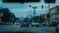 Car Passenger View Traveling On The Chicago Streets