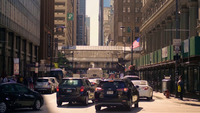 Elevated Train Station And Chicago Streets