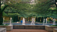 People In Beautiful Public Park With Trees And Fountain