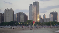 Volleyball Courts In North Avenue Beach With Beautiful Sunset
