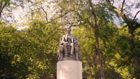 Sitzende Lincoln Statue In Grant Park Chicago