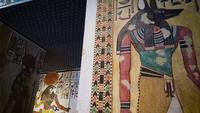 Egyptische kunst in de muren van Anubis en Horus