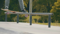 Close Up Of Handrail Skate Trick In A Skate Park