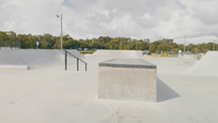 Traveling Shot Showing Elements Of A Skate Park