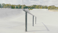 Traveling Shot Showing A Handrail In Skate Park