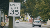 Speed Limit Sign In The Street Slow Motion