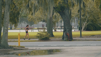 Thin Woman Running On The Sidewalk Near A Park