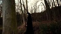 Viking woman walking through autumn forest