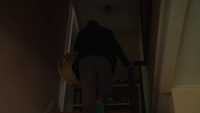 Old Lady Climbing Stair Holding Her Laundry Basket In Slow Motion