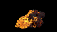VFX Big Fire Explosion That Surge From The Ground With Smoke
