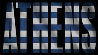 Greklands flagga med Athens Mask