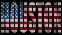USA-Flagge mit Houston-Maske