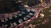 Drone shot of a port with yachts in 4k