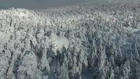 Drone sobre a montanha de neve no inverno