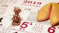 Close Up Of Man Placing A Little Golden Piggy On Calendar