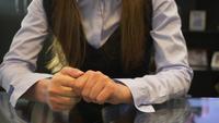 Mulher, em, um, reunião negócio